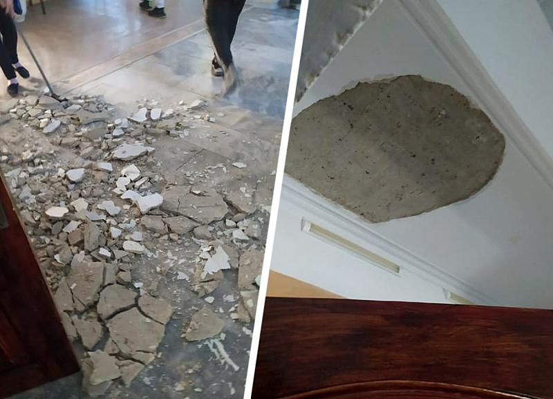 В ставропольской школе на ребенка обрушился пласт потолочной штукатурки