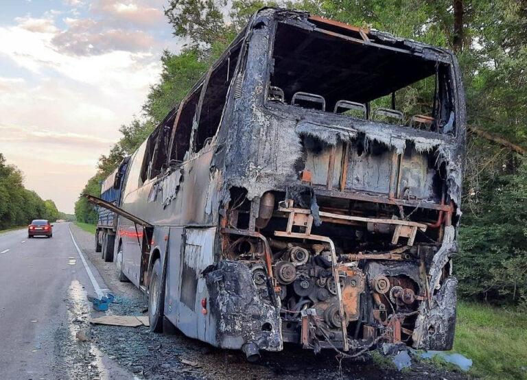 На Ставрополье во время поездки загорелся туристический автобус с детьми
